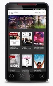 Appli mobile Androïd UniversCiné - home page smartphone