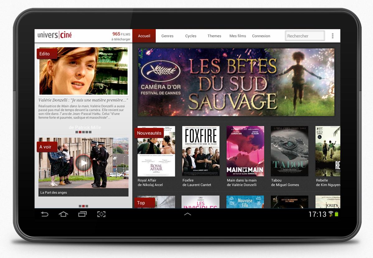 Appli mobile Androïd UniversCiné - home page tablette