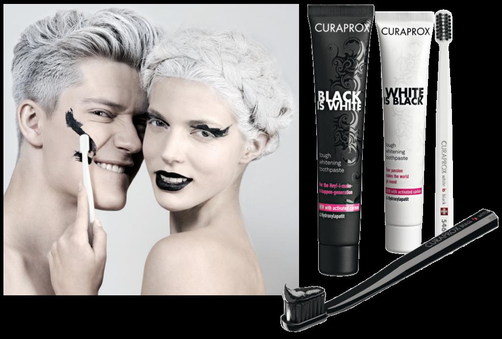 """Le dentifrice """"Black Is White"""" vendu avec la brosse à dents manuelle noire CURAPROX CS5460"""
