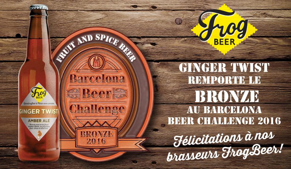 La Ginger Twist, médaille de Bronze au Barcelona Beer Challenge