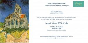 Le carton d'invitation pour l'appel aux dons - Restauration Eglise d'Auvers