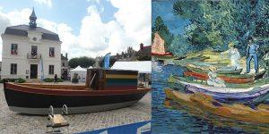 Le Botin exposé sur le parvis de la Mairie en 2017 pour les Journées Européennes du Patrimoine / Barques et figures au bord de l'Oise (tableau de Vincent van Gogh)