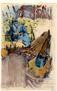 Mathurin Méheut, Guetteur dans l'entonnoir, la Gruerie 1915, Collection Musée Mathurin Méheut, Lamballe © ADAGP, 2018