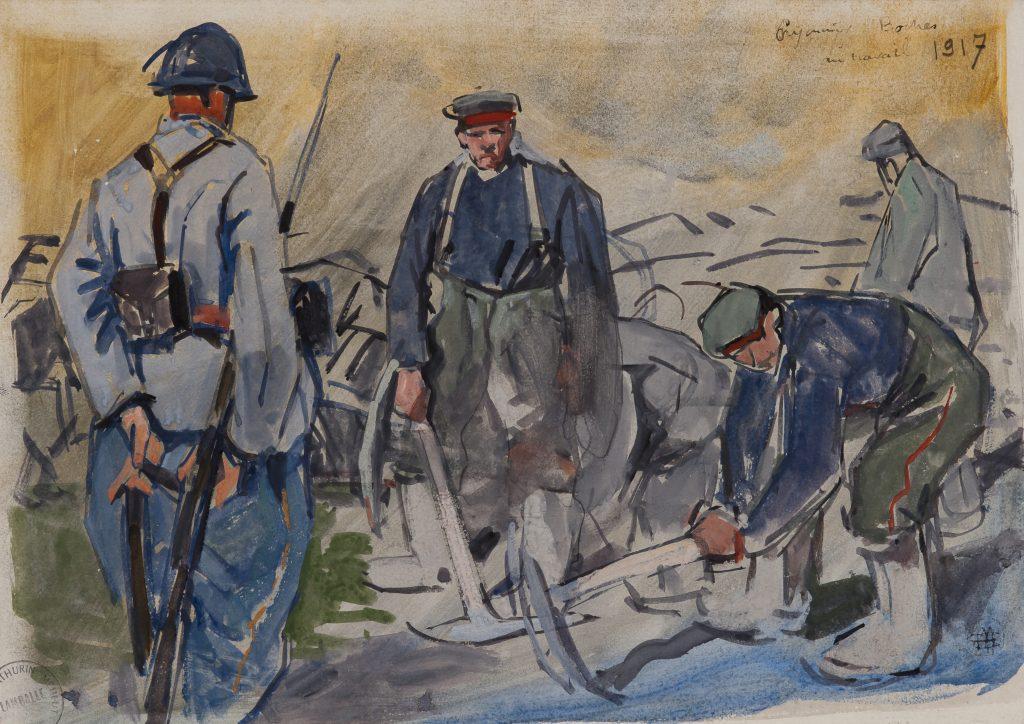 Mathurin Méheut, Prisonniers boches au travail, Collection Musée Mathurin Méheut, Lamballe © ADAGP, 2018