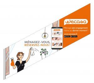 Un des visuels de la campagne d'affichage métro de Wecasa ménage